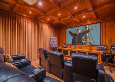 wood paneled movie theatre