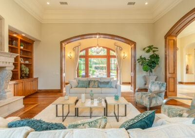 living room with archways