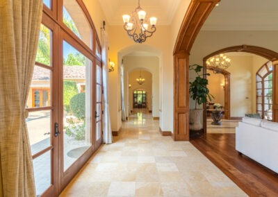 hallway of single level custom estate in San Diego