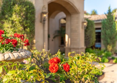 closeup of roses in the entry courtyard of custom estate in San Diego
