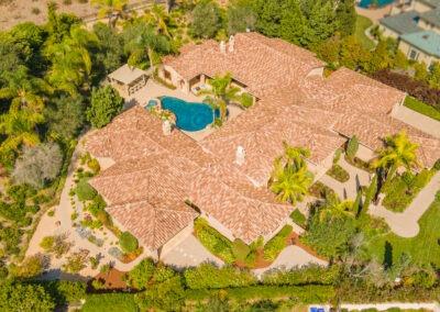 aerial drone shot of sprawling estate