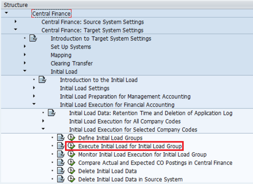 Execute Initial Load in CFIN