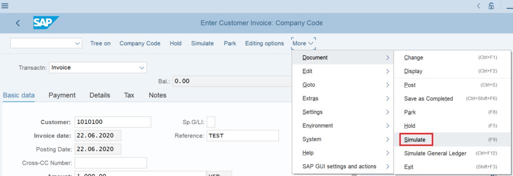 FB70 simulate a customer invoice