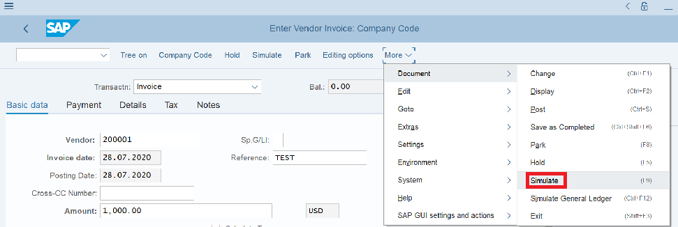 Create a Vendor Invoice