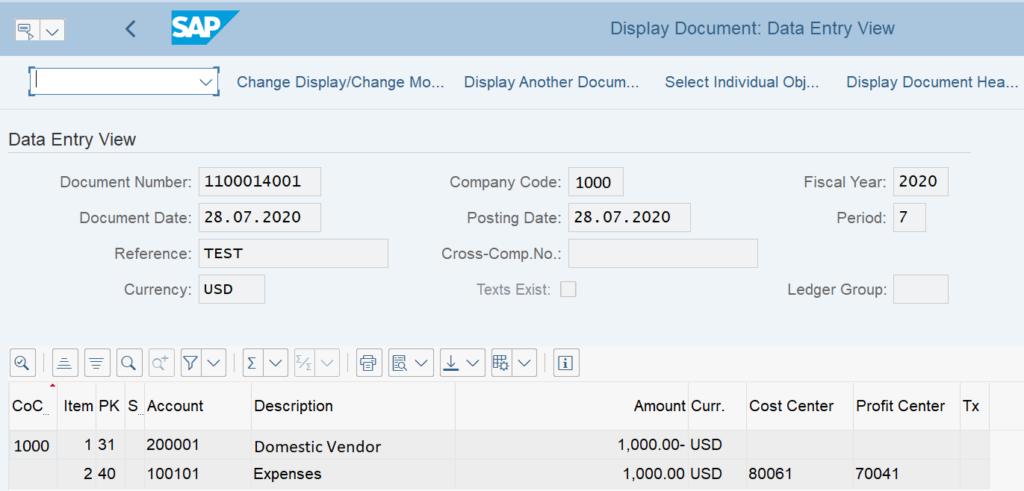 Display the Vendor Invoice