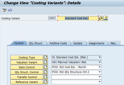 SAP Controlling Module: Product Costing Variant