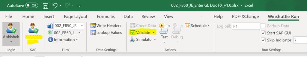 Winshuttle in SAP: Validate