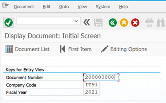 Display the document in tcode FB03