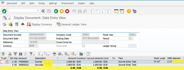Display the Line Item Data