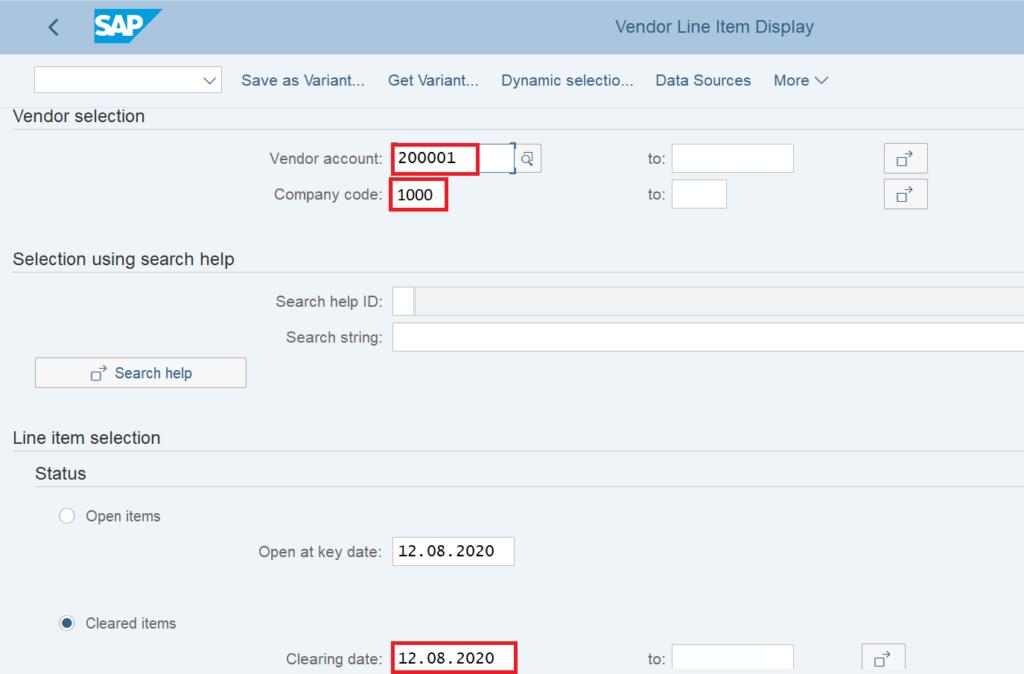 FBL1N in SAP: Vendor Balances Report