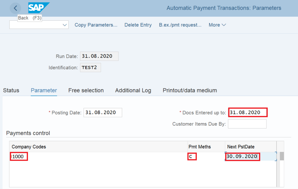 F110 in SAP: Enter the Selection Parameters