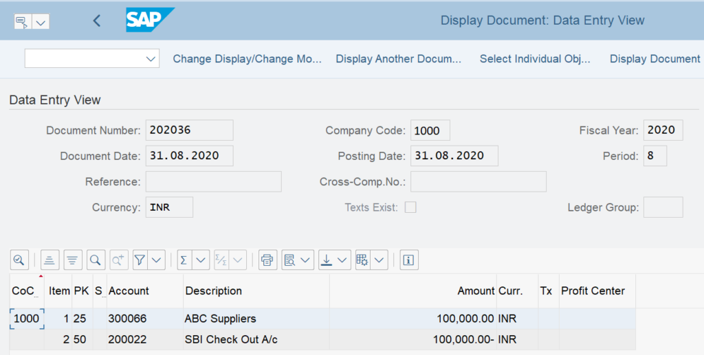 F110 in SAP: Display Payment Document in FB03