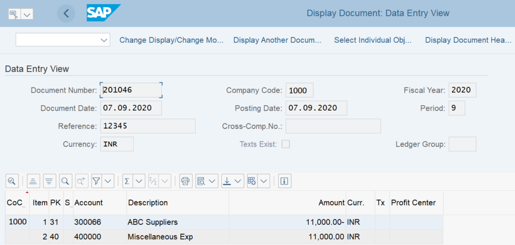 Display a Vendor Invoice