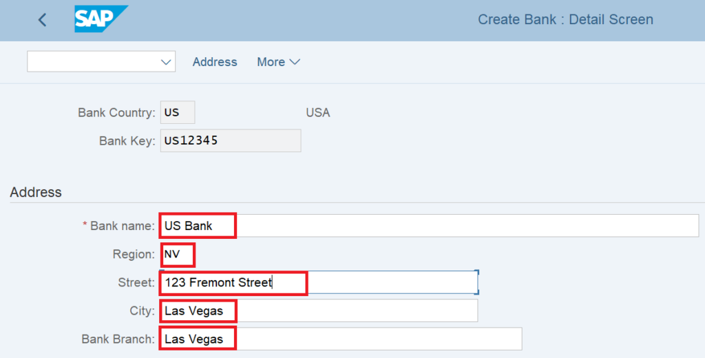 Bank address details in a bank key in sap