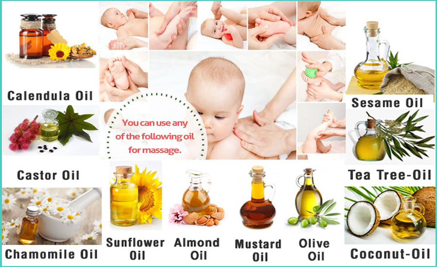 You can use any of the following oil for massage.