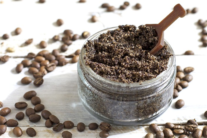 Scatter coffee grounds