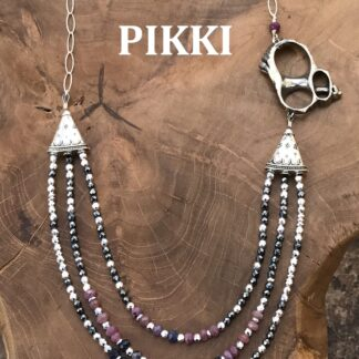 Ruby & sapphire Turbo 3 strand necklace 3
