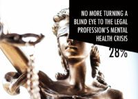 Image of a blind justice statue saying no more turning a blind eye to the legal profession's mental health crisis