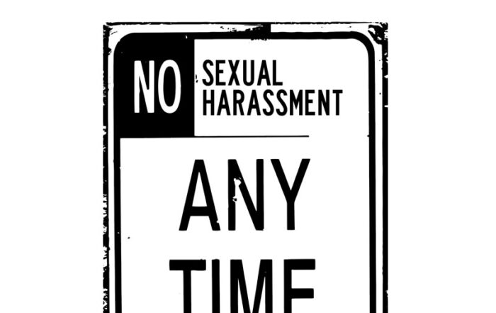 """Street sign saying """"No Sexual Harassment Any Time"""" (student's harassment suit frivolous)"""