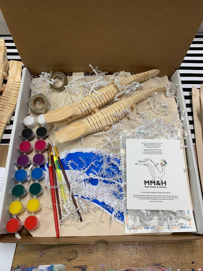 An arts and crafts kit sent by Creative Cove to MM&H clients (support)