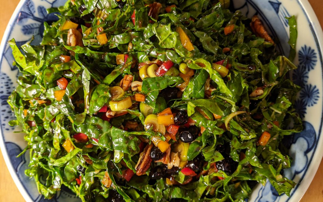 Confetti Kale Salad with Wild Blueberries & Pecans