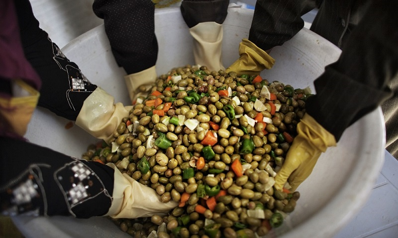 15 December 2010, Arraba - Members of a women's cooperative preparing and canning olives which will be sold with other prepared foods for extra income.  FAO Project: OSRO/GAZ/909/SPA - Emergency support and employment generation for female-headed households through backyard farming and cottage industry in targeted areas the West Bank and Gaza Strip. To improve household food security in the targeted areas and empower women through emergency provision of productive inputs and technical support.