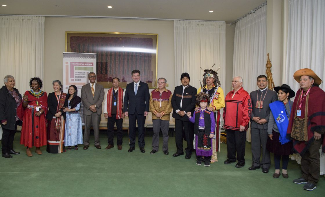 Group Photo PGA (7th from left) Bolivia President (9th from left) Photo op with President Evo Morales, the chair of the Permanent Forum, the Special rapporteur and the other listed below
