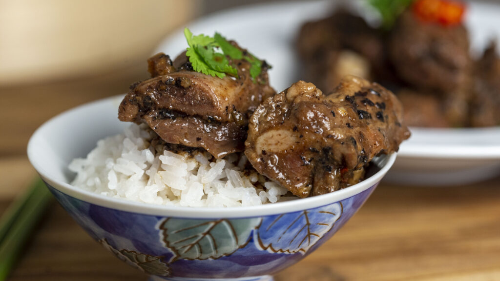 Chinese black bean ribs are so good with rice.