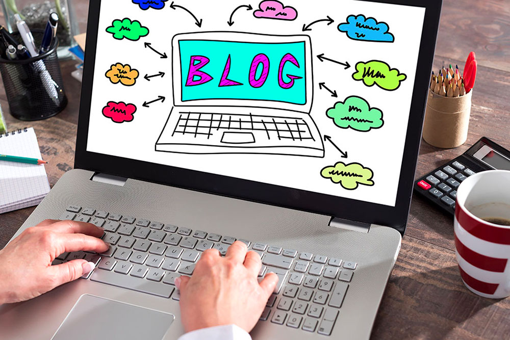 fun image of the word blog on a laptop used on the how do you blog article