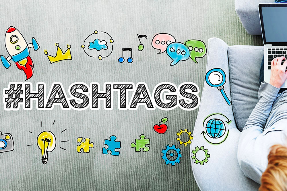 fun image of icons with the word hashtags being used in the Instagram keyword blog post