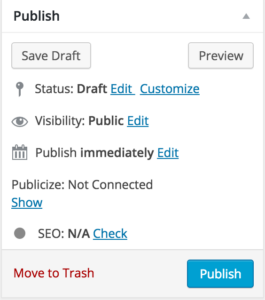 screenshot of the scheduling and publish feature in wordpress