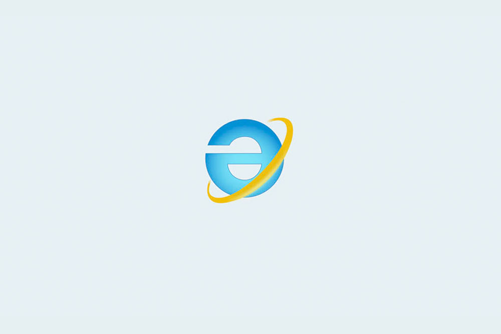 Microsoft IE logo turned upside down