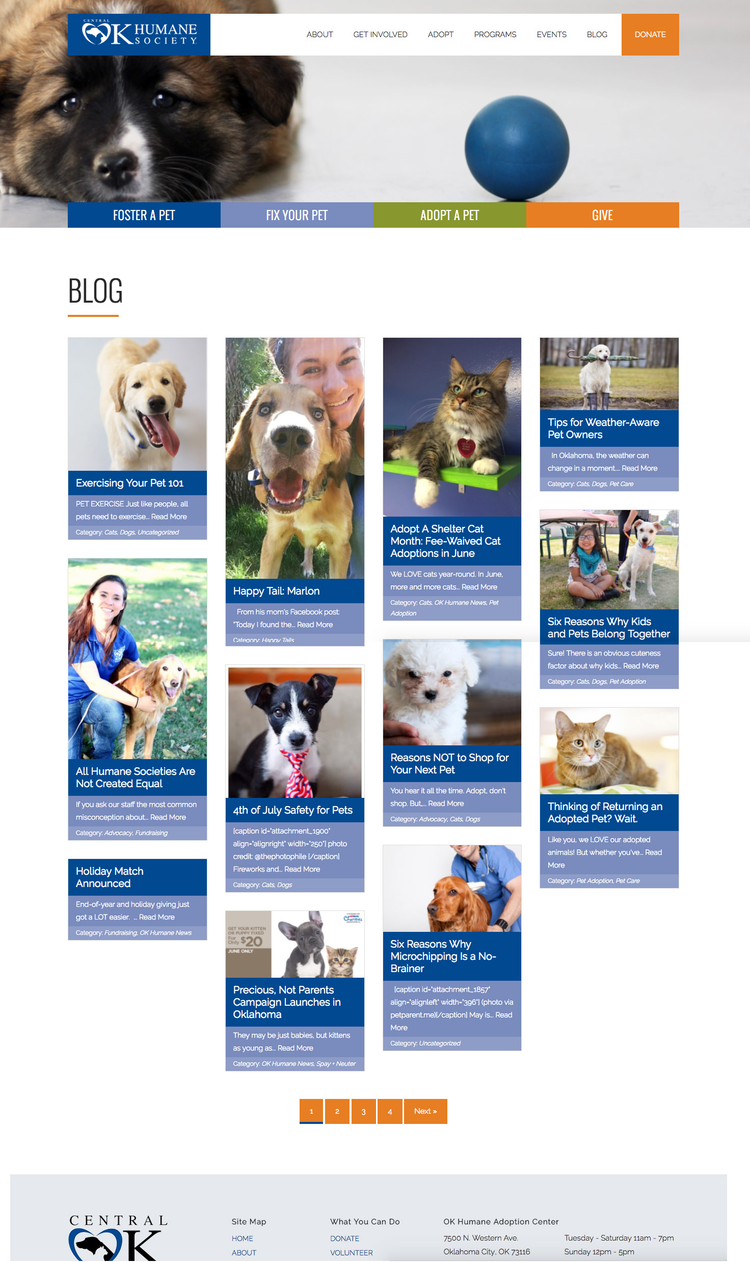 Blog page screenshot for a nonprofit that helps animals
