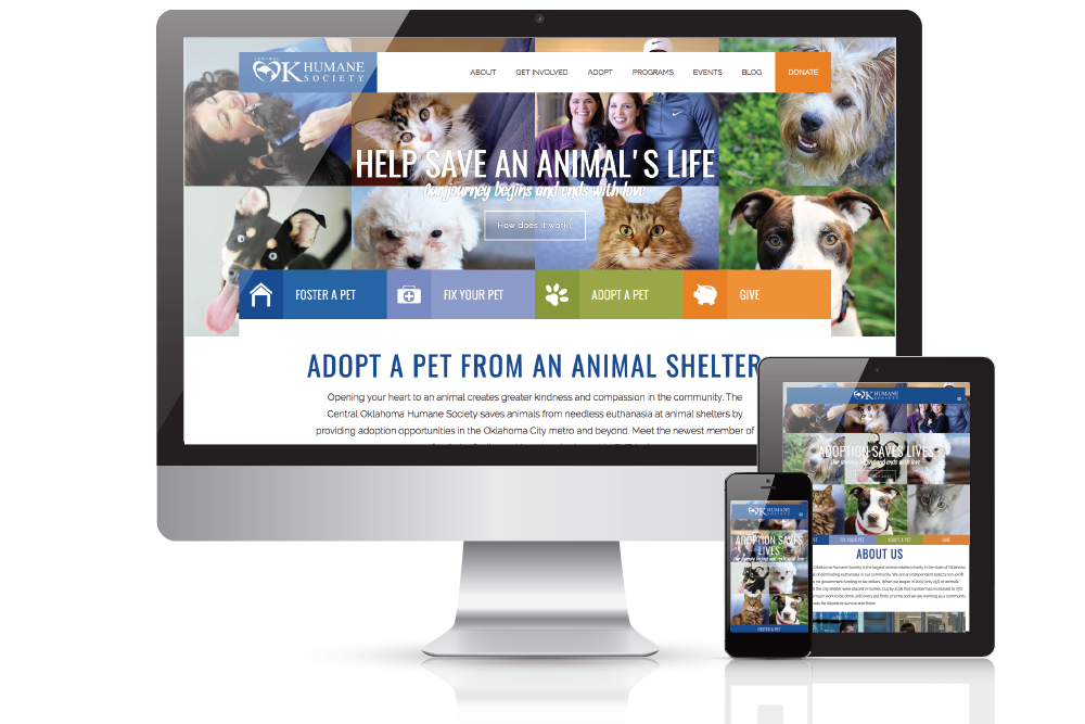 Shows an animal based non-profit website designed by GGC Digital in various monitor sizes