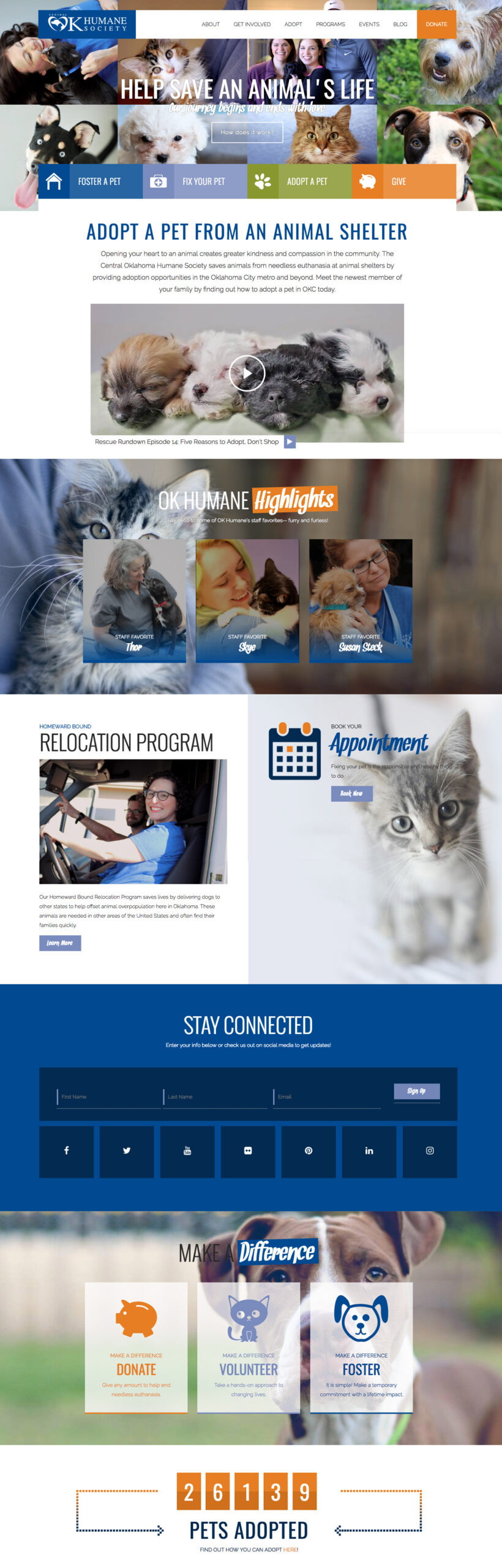 Homepage screenshot for a humane society website redesign project