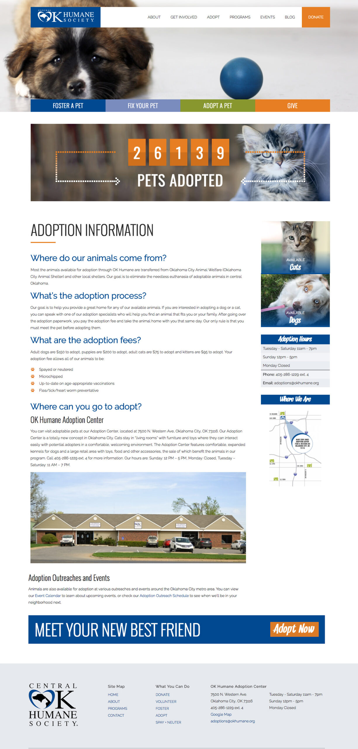 Internal page view for a humane society website
