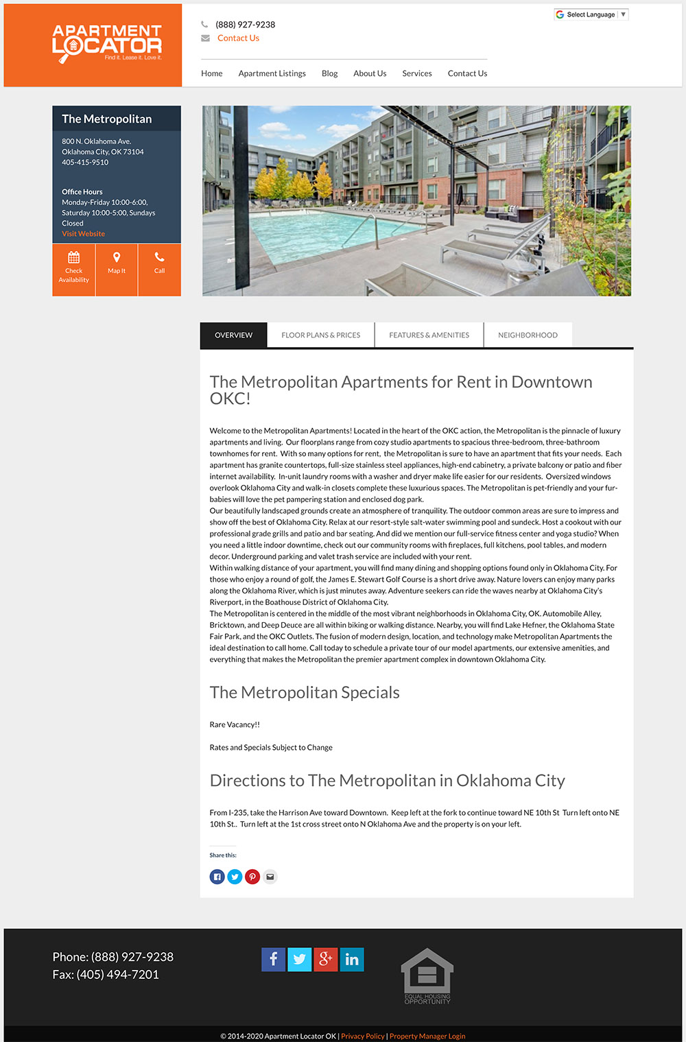 Landing page for the apartment detail page for an apartment locator company in oklahoma