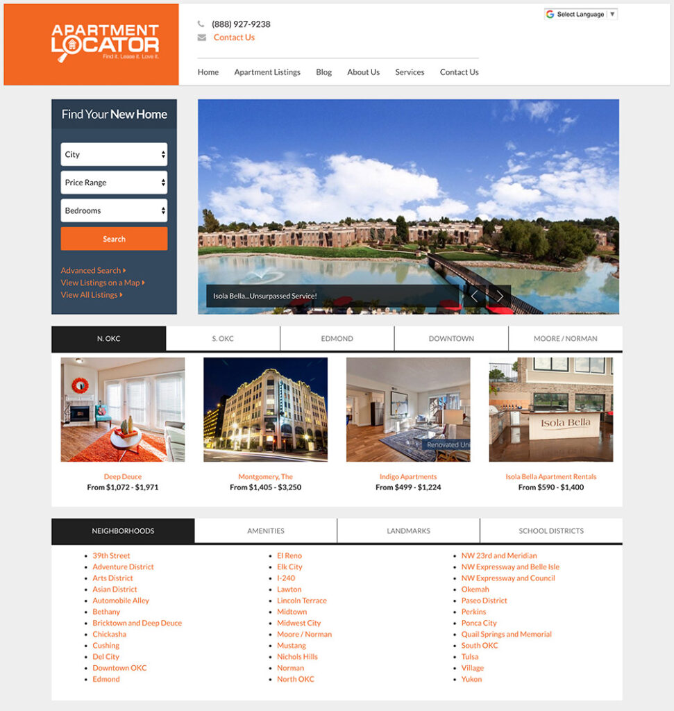 Homepage screenshot for the Apartment Locator website design project