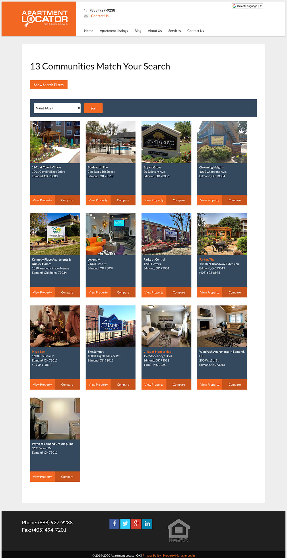 Search results landing page for an apartment locator website by ggc digital
