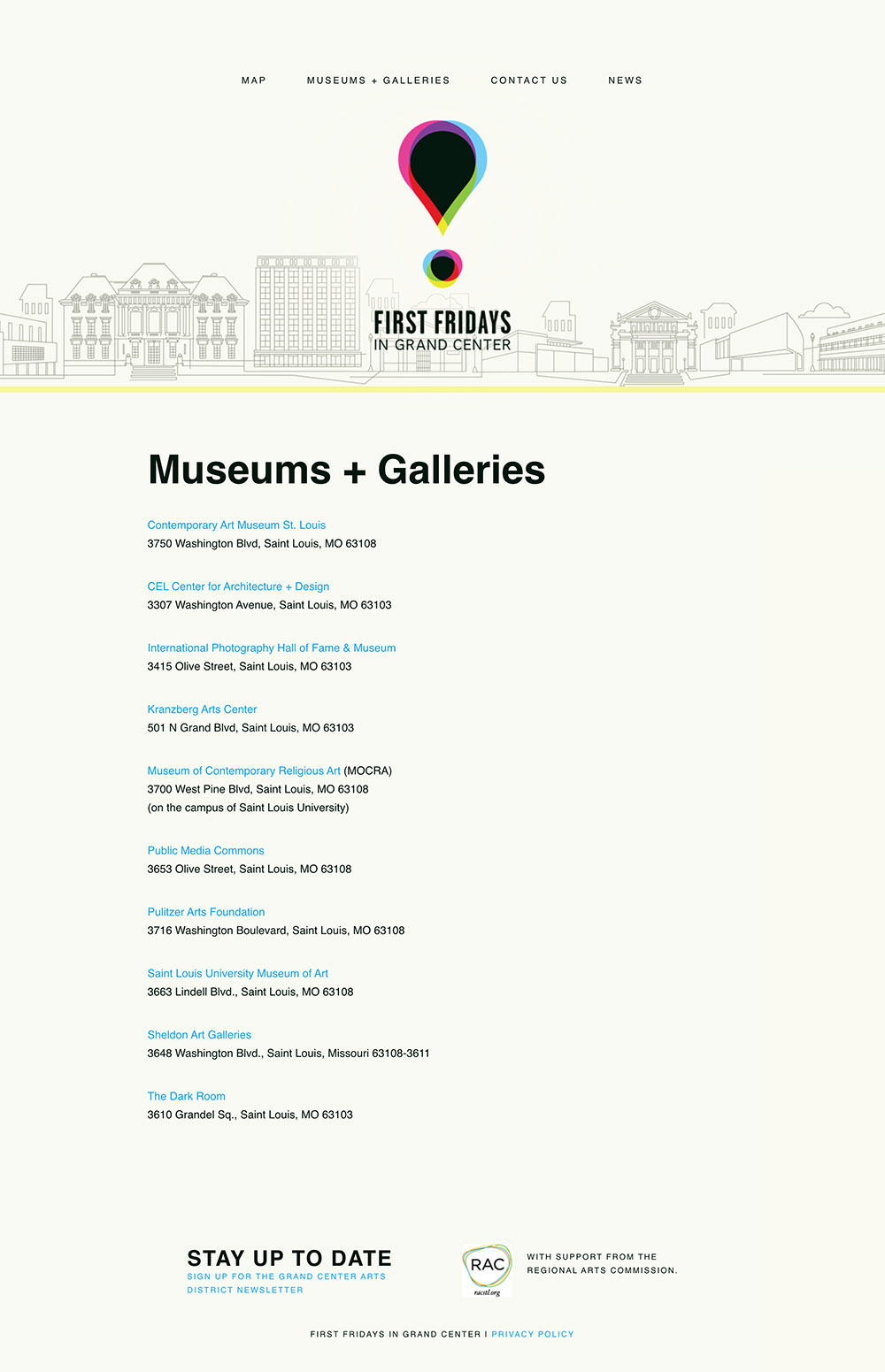 Screenshot from the Firs Fridays design project highlighting the museum and gallery listing page