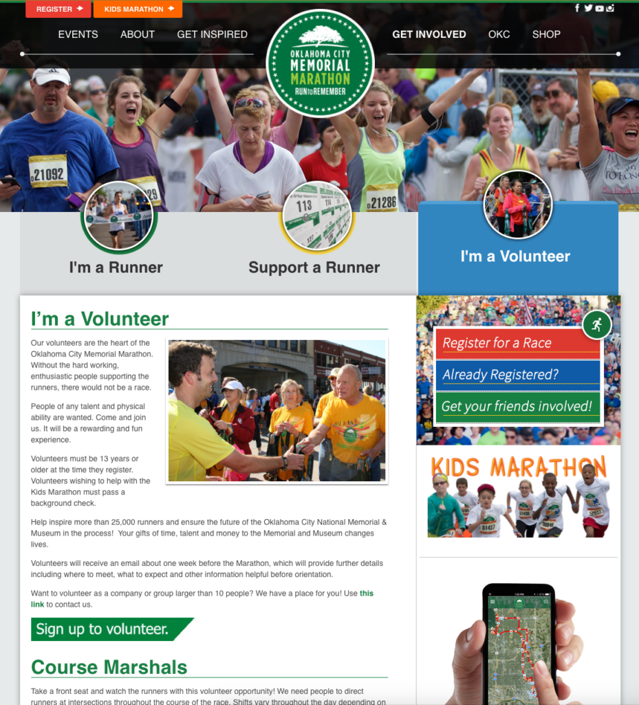 screenshot from the oklahoma city marathon volunteer page