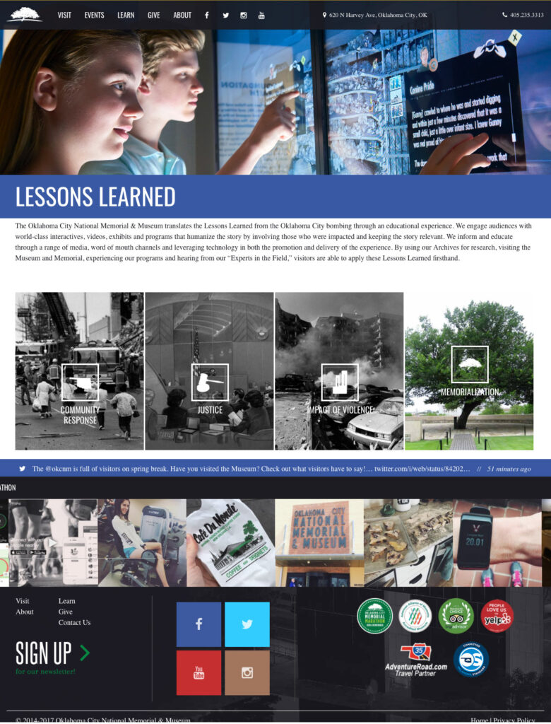 screenshot of the lessons learned portion of the oklahoma city national memorial website