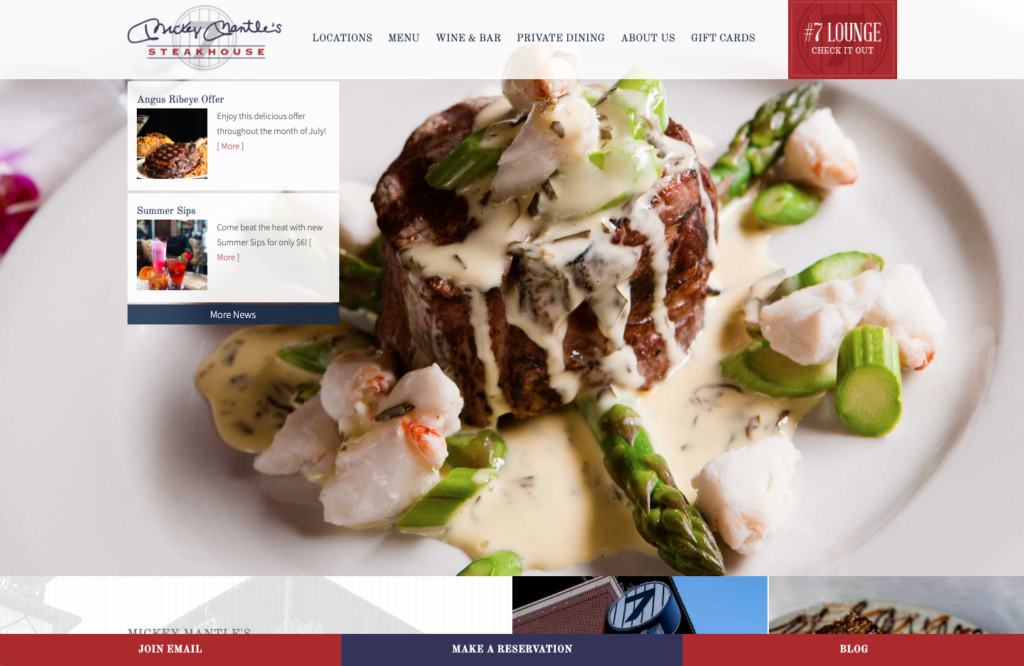 Screenshot of the main banner area of the mickey mantles steakhouse website