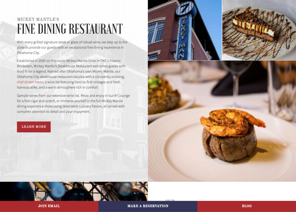 Screenshot of the fine dining section of the mickey mantles steakhouse website