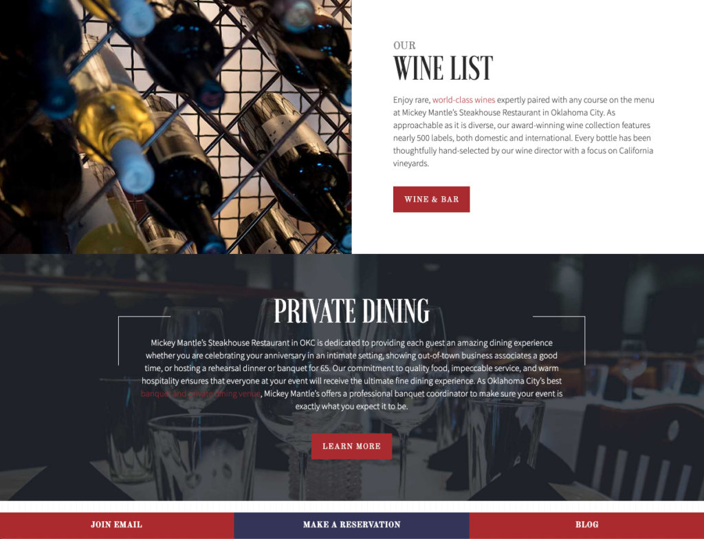 Screenshot of the wine list section of the Mickey Mantles website
