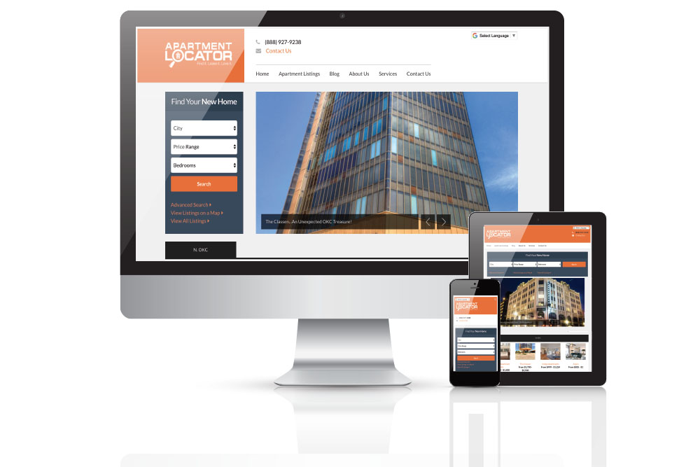 various monitor views of a website redesign of an apartment locator business