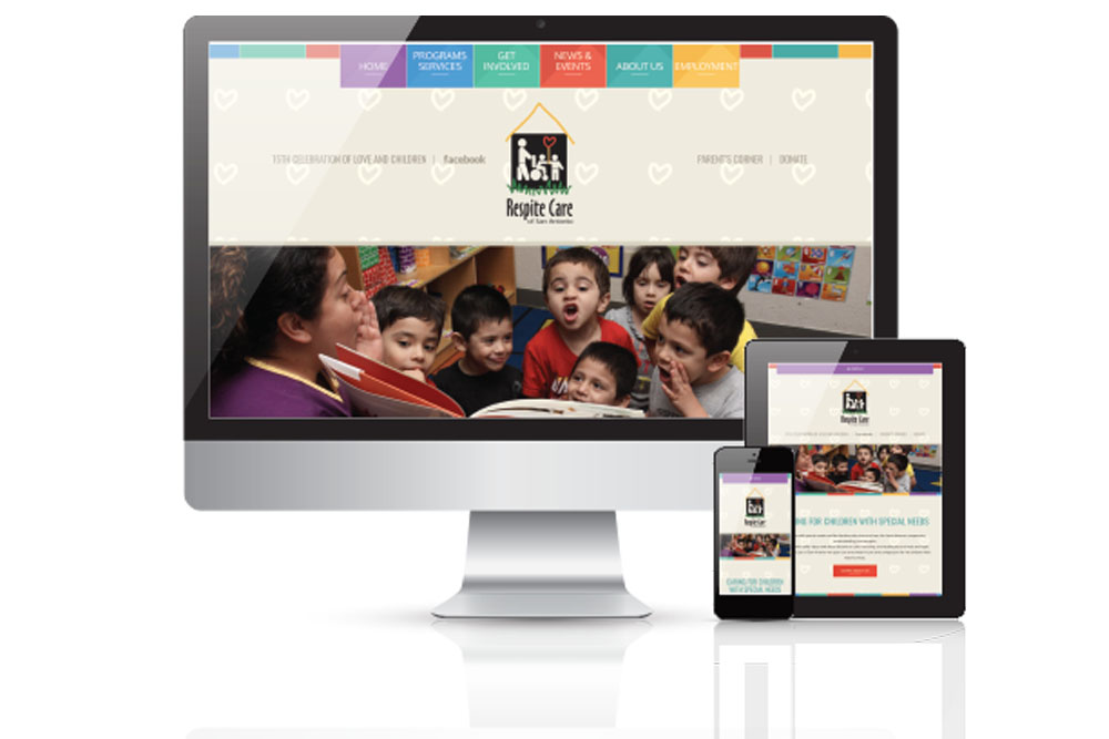 various monitor views of a website redesign for a childrens charity