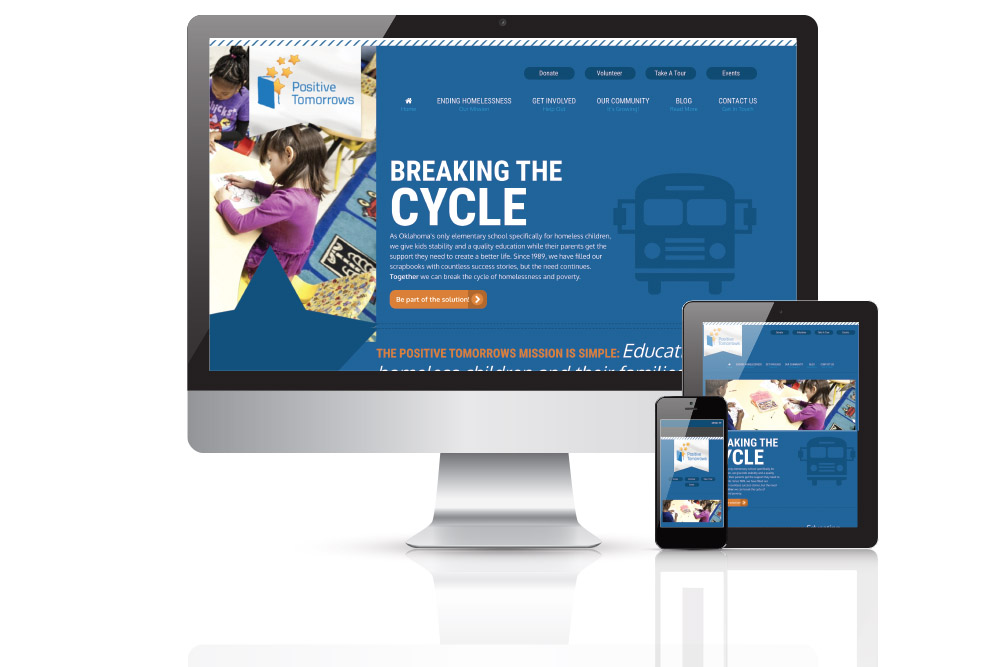 Various monitor views of a childrens charity website redesign and development project