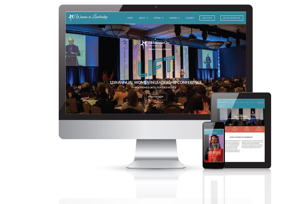 various monitor views of a conference website redesign project