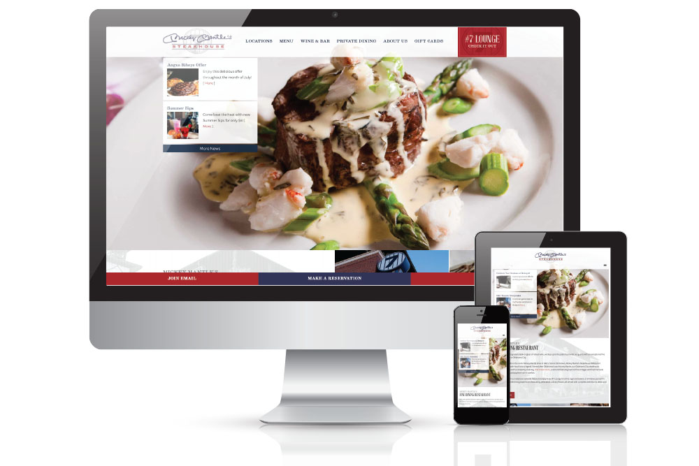 monitor views of a website redesign for a restaurant and steakhouse